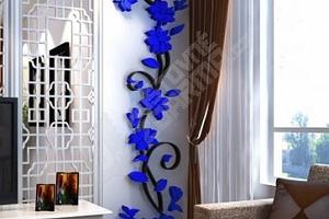 3D samolepka na zeď s motivem popínavé květiny...