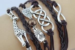 Vícevrstvé náramky s žirafou a sovičkami...