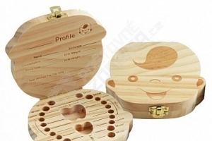 Dřevěná krabička na dětské zoubky...