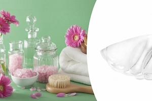 Designová skleněná ulita na kosmetické potřeby...