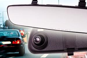Zrcátko s kamerou pro záznam jízdy pro řidiče...
