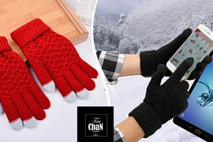 Vzorované vlněné rukavice na dotykový displej...