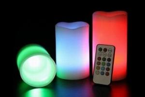 Parafínové svíčky 3ks s LED diodou...