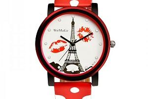 Dámské hodinky s Eiffelovkou a puntíkovaným páskem...