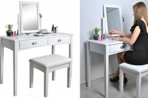 Bílý toaletní stolek se stoličkou a zrcadlem...