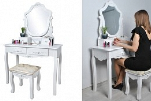 Bílý toaletní stolek se zrcadlem a stoličkou...