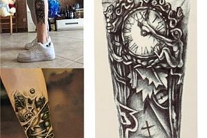 Dočasné tetování - retro hodiny...