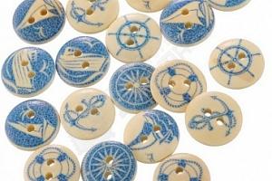 Dřevěné knoflíky s modrým námořním designem...