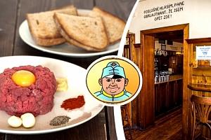 Tatarský biftek ve Švejk Restaurant Strašnice...