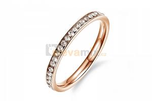 Pozlacený ocelový prsten Eternity se zirkony...