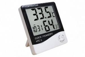 LCD elektronický teploměr a vlhkoměr, hodiny + budík...