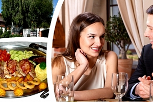 Výtečné Rudolfovo plato 1,5 kg v restauraci Golemův Restaurant, svíčková, kuřecí, krkovička....