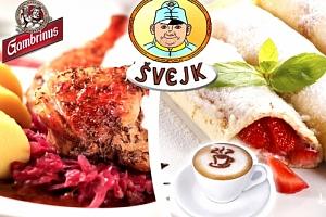 3chodové slavnostní menu u Švejka. Slavnostní oběd nebo večeře, vývar, kachna, palačinka, káva....