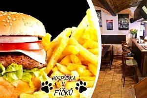 Sýrový, kuřecí nebo hovězí burger s hranolky v žižkovské Hospůdce U Fíčků....
