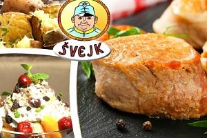 Menu pro 1- 4 osoby u Švejka, vepřový steak, brambora ve slupce, tatarka, dezert a kafíčko....