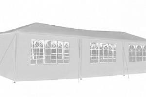 Malatec, Zahradní párty stan 3 x 9 m + 8 bočních stěn, bílý P5521...