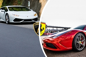 Jízda se 2 luxusními sporťáky: Lamborghini vs Ferrari na okruhu...