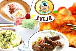 Oblíbené karbanátky s bramborovou kaší, pohár, kávička v příjemné restauraci u Švejka....