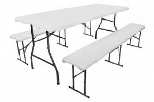 Skládací stůl půlený 180 cm + 2x skládací lavice, bílá, P3257...