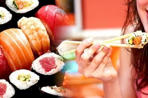 Výběr sushi vegetariánský, lososový nebo krevetový set v restauraci Green Tea Restaurant na Žižkově....