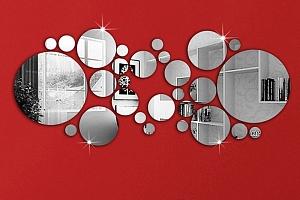 Kruhová zrcadlová dekorace na zeď...