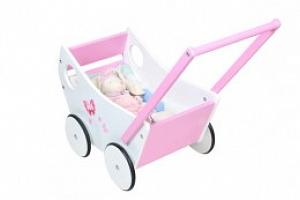Dřevěný kočárek pro panenky, růžová/bílá, P4583...
