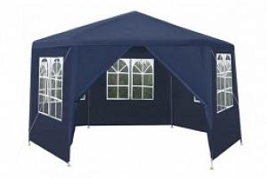 Zahradní párty stan šestiúhelník + 6 bočních stěn, modrý P5526...