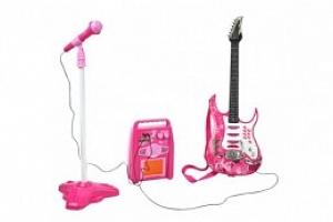 Dětská rocková elektrická kytara na baterie + zesilovač a mikrofon, růžová, 4709...