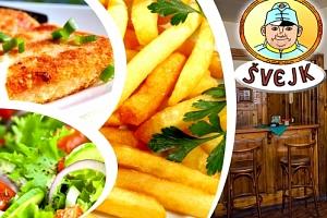 Smažák, hranolky, tatarka, obloha v restauraci Švejk ve Strašnicích v Praze pro 2 osoby....