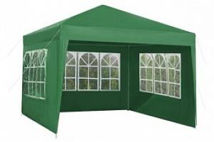 Zahradní párty stan 3 x 3 m + 3 boční stěny, zelený, P5506...