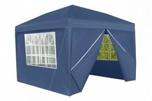 Zahradní párty stan 3x3 m + 4 boční stěny modrý, P5525...
