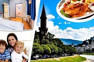 Salzburg 3 nebo 4 dny v Mozartově městě pro 2 osoby a dvě děti se snídaněmi....