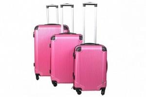 Sada 3 Cestovních kufrů ABS, M/L/XL, růžová, 4096...
