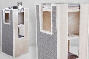 Škrabadlo kočičí věž Sarita Cat Tower potažené plyšem...
