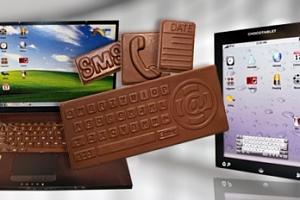 Čokoládové dárkové balení v obalu notebooku nebo tabletu...