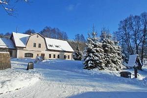 Krkonoše v zimě v penzionu uprostřed malebné obce Horní Albeřice s polopenzí a wellness...