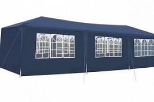 Zahradní párty stan 3 x 9 m + 8 bočních stěn, modrý P5522...
