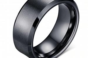 Prsten z broušené chirurgické oceli černý SR000072 Velikost: 9...