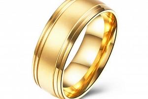 Prsten z chirurgické oceli- Gold SR000019 Velikost: 9...