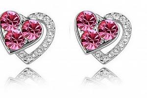 Ziskoun náušnice Heart shaped- silver CE000023 Barva: Růžová...