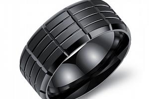 Pánský prsten z chirurgické oceli- černý Army SR000020 Velikost: 8...