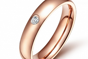 Dámský prsten z chirurgické oceli se zirkonem v imitaci diamantu- bronzový SR000024 Velikost: 8...