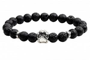 Náramek z lávových kamenů black z tlapičkou CB000083...
