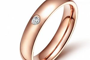 Dámský prsten z chirurgické oceli se zirkonem v imitaci diamantu- bronzový SR000024 Velikost: 9...