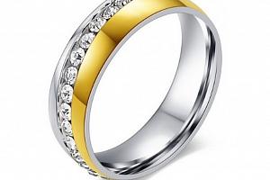 Dámsky prsten Coloro z chirurgické oceli se zirkony- stříbrnozlaté provedení SR000028 Velikost: 7...