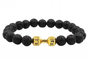 Ziskoun náramek z lávových kamenů black CB000040 Barva: Zlatá...