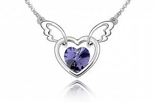 Ziskoun řetízek s přívěskem létajícího srdce PN00005 Barva: Fialová...