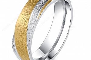 Zlato-stříbrný prsten z pískované chirurgické oceli- Twisted SR000039 Velikost: 10...