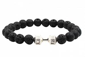 Ziskoun náramek z lávových kamenů black CB000040 Barva: Stříbrná...