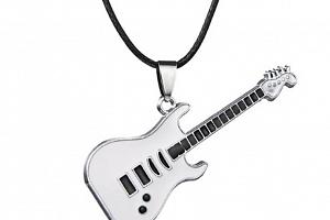 3D náhrdelník s přívěskem kytary z chirurgické oceli na provázkovém řetízku PN0000157 Barva:…
